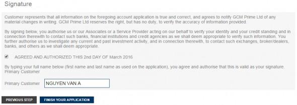 gcm prime - open an account - mở tài khoản
